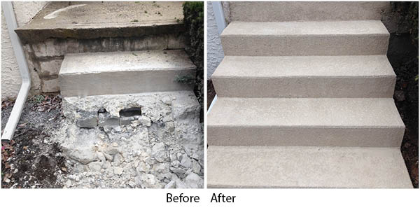 Before and After images of Concrete Stairs | GSI Concrete